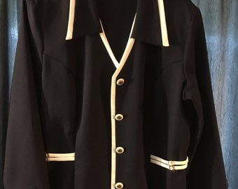 Vintage Navy Blu with White Trim Lightweight Polyester Blazer - XL - Excellent Used Condition
