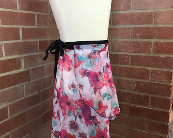 Wrap Skirt for Dance, Ice Skating with Modern Pink Floral Print MD1002