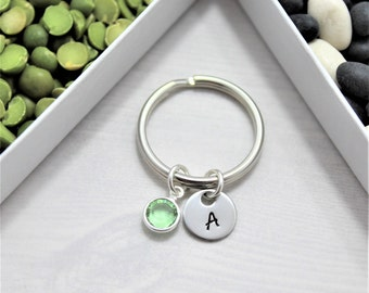 Initial Keychain - Personalized - Silver Initial Keychain - Custom Birthstone
