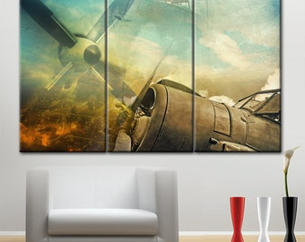 Aircraft engine, canvas wall art, photo on canvas, wall decor for home, office Art Canvas, Print beautiful, aviation, propeller canvas