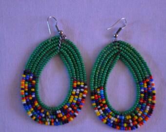 African Maasai Beaded Hoop Earrings | Beaded earrings | Multi color Earrings | Green hoop earrings | Elegant Earrings | Gift for Her