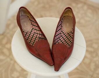 MIU MIU shoes, pointed toe shoes, miu miu pumps, designer shoes, pointed toe pumps, leather shoes, burgundy shoes, bordo shoes, maroon shoes