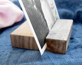 Walnut Wood Photo Stand   Dark Wood Picture Holder   Wooden Photo Stand   Walnut Wood Photo Display   Photograph Display Stand   Photo Gift