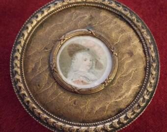 Antique French Bronze Portrait Trinket Box