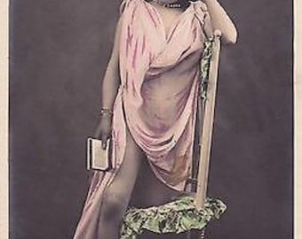 Near Mint 1900s Real Photo PC Hand Colored Art Nouveau Semi-Nude Risque Lady Greco Roman Dress