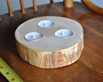 Wood Slab Centerpiece, 3 Candle, Round Wood Slab, Tree Candle Holder, Reclaimed Wood Candle Holder, Log Candle Holder, Beaver Chew Candle