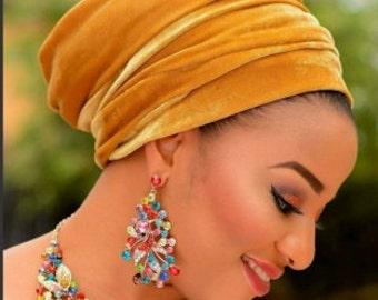 New Embellish Burnt Orange Studded/Pearled Velvet Turban Head wrap, One Size fit all
