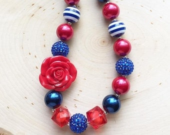 Red Navy Blue Chunky Necklace- Headband - Patriotic - Memorial Day - July 4th - Photo Prop - 1st Birthday - Smash Cake - Custom Necklace