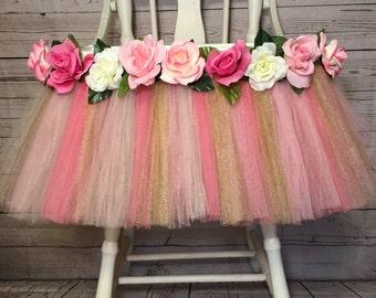 Pink Gold and Light Pink High Chair Tutu-Highchair tutu -Highchair skirt-Pink Gold and Light Pink 1st Birthday-Pink Gold and Light Pink