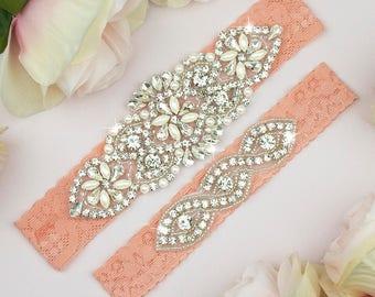 Wedding Garter Peach, Peach Bridal Garter, Garter Set, Lace Wedding Garter, Toss Garter, Keepsake Garter, Bridal Garter Belt Peach, 11-1A