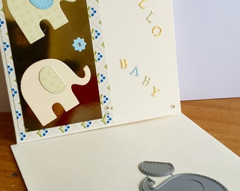 A square cream new baby card, handmade, handcrafted, embellished.