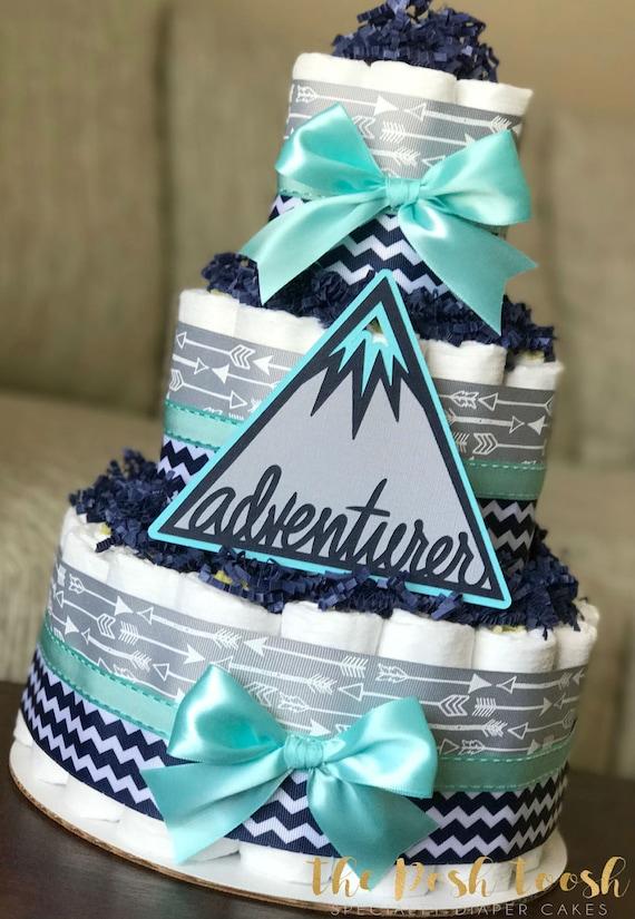 Adventure Awaits Arrow Diaper Cake Gray Navy Teal Mountain