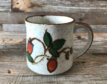 Vintage Speckled Stoneware Coffee Mug, Hand-painted Stoneware Mug