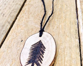 Wood burned Pine Tree Necklace, Pyrography