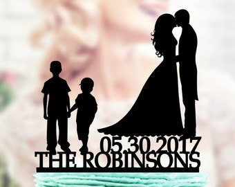 Wedding Cake Topper Silhouette Groom and Bride with Kids , Family Wedding Cake Topper Bride and Groom With Children , cake topper children