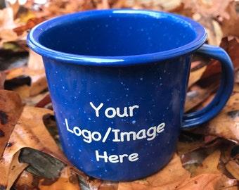 Custom Enamel Mug, Custom Enamel Cup, Enamel Mug, Enamel Cup, Camping Mug, Camping Cup, Backpacking, Outdoors, Coffee Cup, Coffee Mug