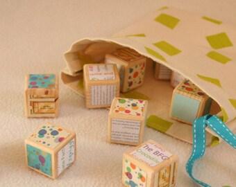 Roald Dahl themed Wooden Blocks - Unique wooden handcrafted nursery room blocks