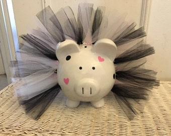 Princess Tutu Piggy Bank, Large Tutu Personalized Piggy Bank, Personalized Bank, Custom Bank , Baby Girl, First Birthday, Baby Shower Gift