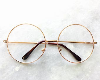 Gold Oversized Circle Transparent Round Frame Clear Lens Spectacle Glasses