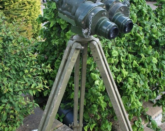 Ross London WW2 Gun Sight on Wood Tripod - Binoculars British Royal Navy Army Telescope Tank Vintage Militaria Home Shop Decor Steampunk