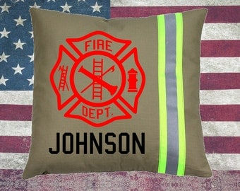 Firefighter TAN Pillow - Maltese Cross with Name