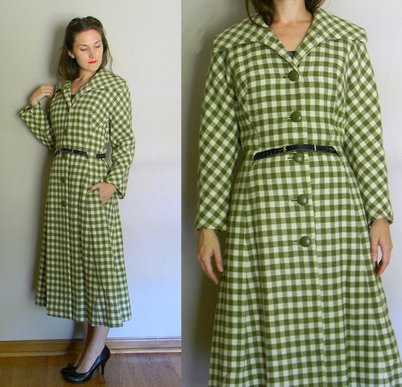 Cyprus Sensation Coat | vintage 40's green plaid wool princess coat Marshall Field