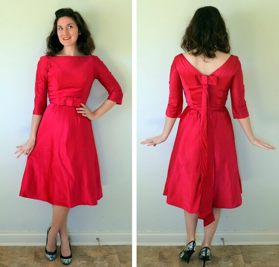 Raspberry Tart Dress | vintage 50's magenta pink satin cocktail dress | small xs