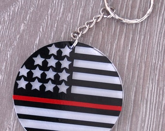 Thin Red Line Keychain | Thin Red Line | Firefighter | First Responder | Emergency Personnel