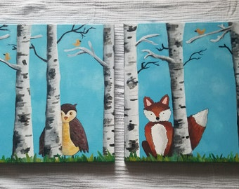 Woodland Fox and Owl Nusery Painting