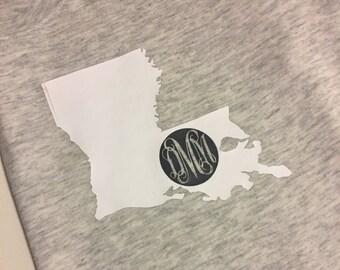 Personalized Louisiana initial tee