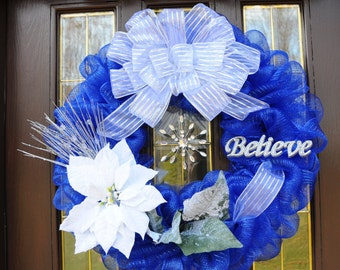 Blue and White Christmas Wreath - Believe