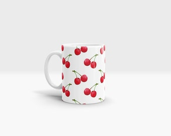 Cherry Mug. 11oz Ceramic Mug.