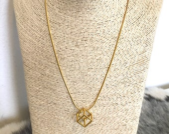 Gold geometric cube charm necklace
