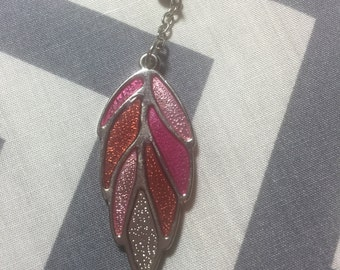 Pink Leaf Cell Phone Charm and Dust Plug 3.5mm