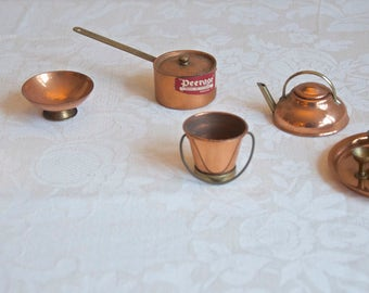 Vintage MINIATURE COPPER & Brass SET by Peerage, Made in England: Teapot, Pitcher, Bowl, Saucepan, Bucket, Tray, Bottle, Ice Bucket, Glasses