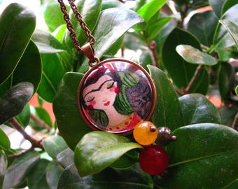 FRIDA KAHLO Necklace ... Hand painted