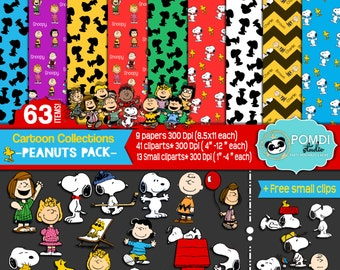 INSTANT DOWNLOAD|| Snoopy pack ||Papers AND cliparts ||63 elements: 54 cliparts + 9 papers||