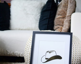 COWBOY HAT metallic foil wall print, Equestrian home decor