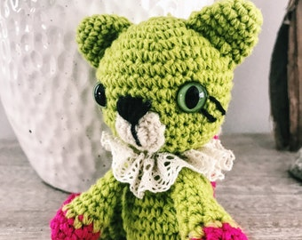 Tiny Green Cat - Crocheted amigurumi toy