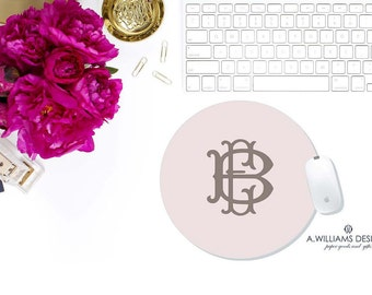 monogrammed mouse pad/Mouse Pad/custom round mouse pad/personalized mousepad/ 8x8 custom mousepad/personalized mousepad/circle mousepad