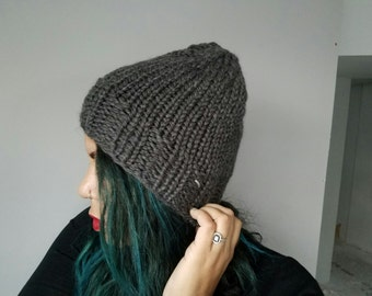 Beanie // Stocking Cap // Slouchy // Hand Knit // Knit // Warm // Cozy // Gray // Goonies