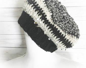 Messy Bun hats,Ponytail hats,Black hats,Ponytail Beanie,Beanies,Winter hat bun hats,Gifts for her,Gifts for Teens,Ear warmers,Sequin hats,