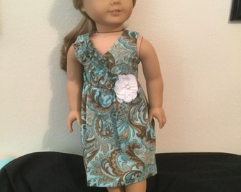 18 Inch Doll Dress, Aqua and Brown Paisley with White Flower