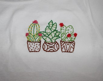 Group of Cactus White Crop Top