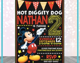 Mickey Mouse Invitation Personalized Digital File 24hour Turn Around