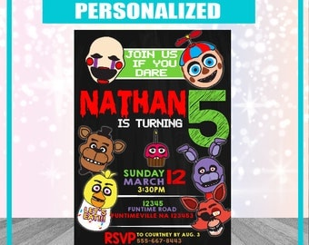 Five Nights at Freddy's Invitation Personalized Digital File 24hour Turn Around