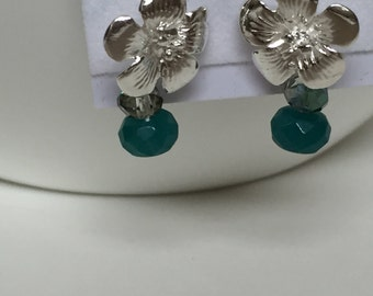 Sterling Silver Plumeria with Teal Chalcedony drop earrings-Sale