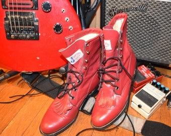 Punk Rock Red Leather Vintage Black Lace-Up Kiltie Boots/ Lacer Cowboy Western by Justin Size 7.5