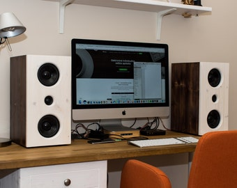 A pair of handmade Hi-Fi speakers