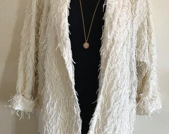 Carpool Couture Fringe Coat - Large White Cotton - Cardigan Open Jacket - 90s Vintage VTG - String Cream Pockets
